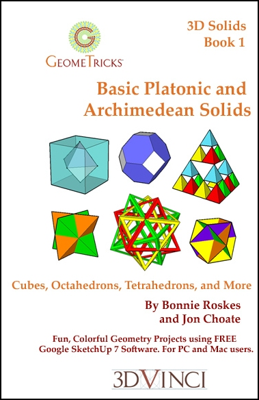 Basic Platonic and Archimedean Solids, GeomeTricks 3D Solids Book 1 (Printed)
